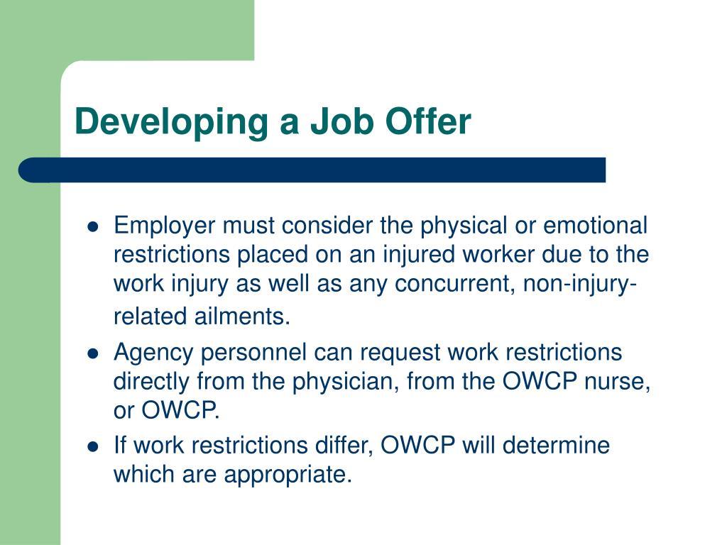 Developing a Job Offer