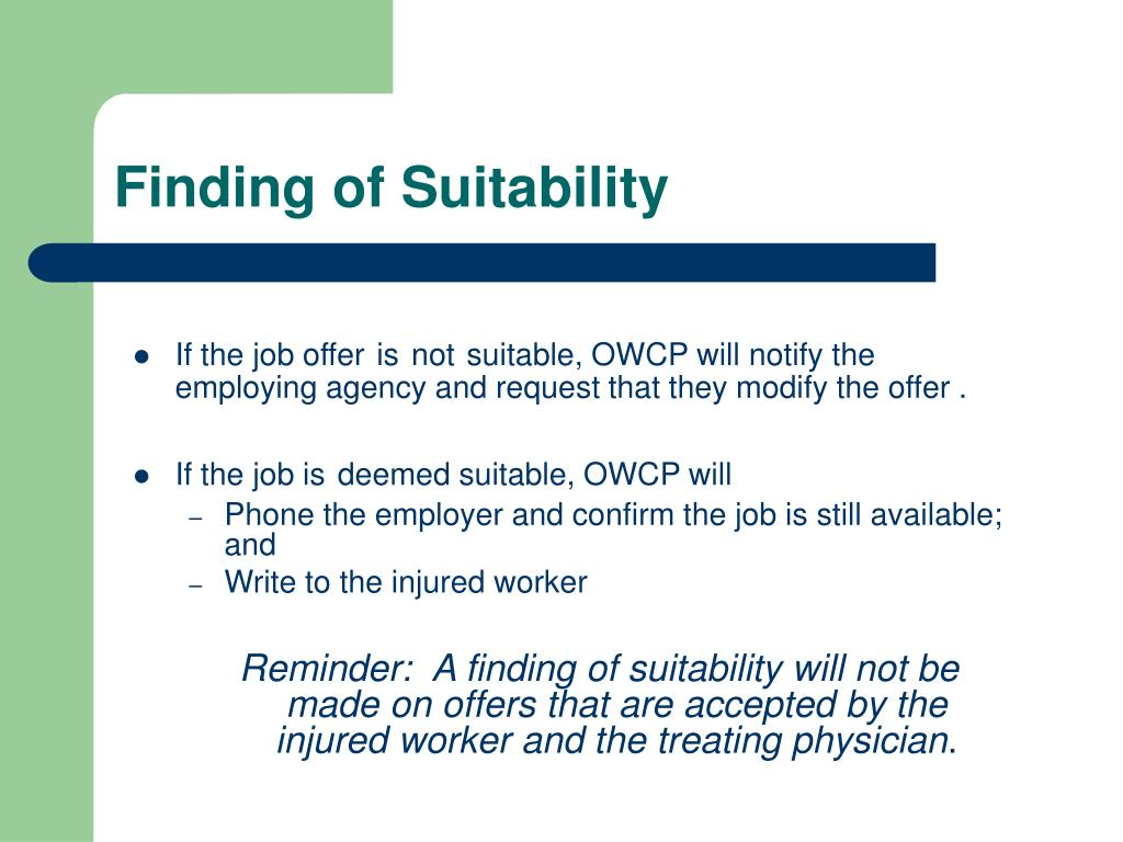 Finding of Suitability