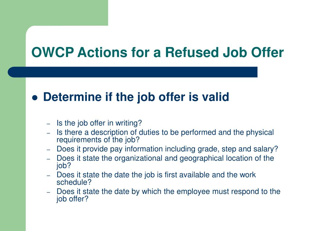 OWCP Actions for a Refused Job Offer