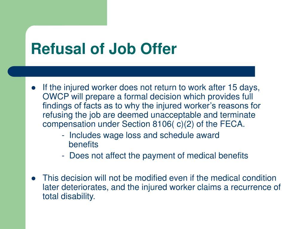 Refusal of Job Offer