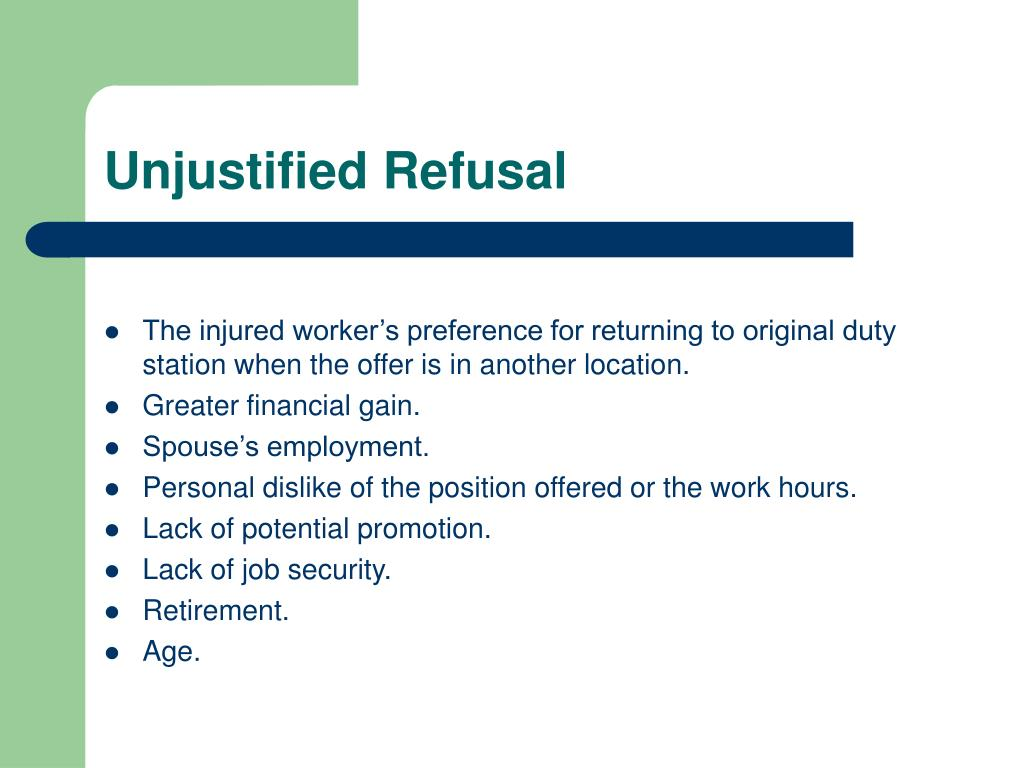 The injured worker's preference for returning to original duty station when the offer is in another location.