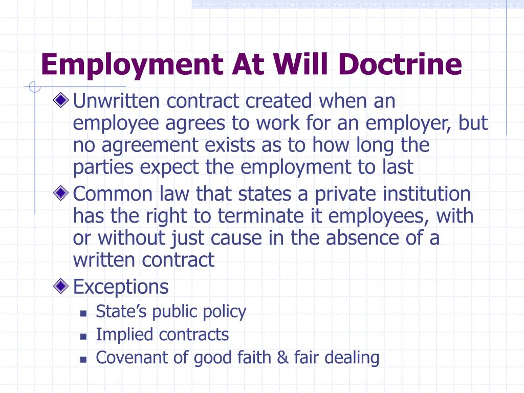 Employment At Will Doctrine