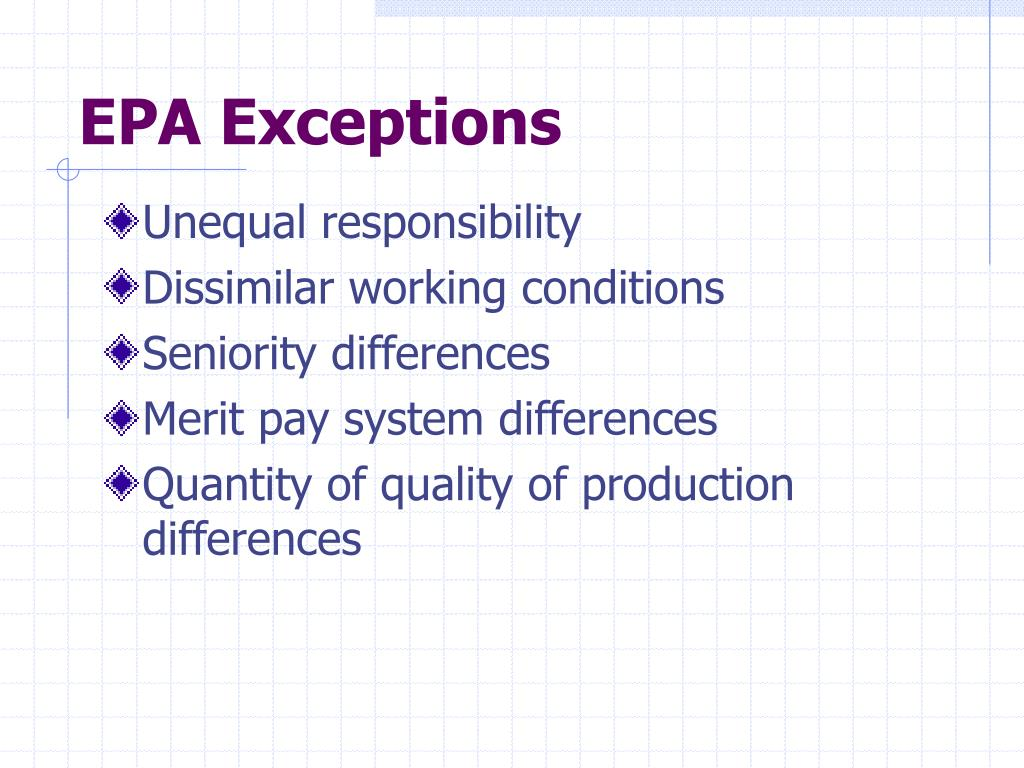 EPA Exceptions