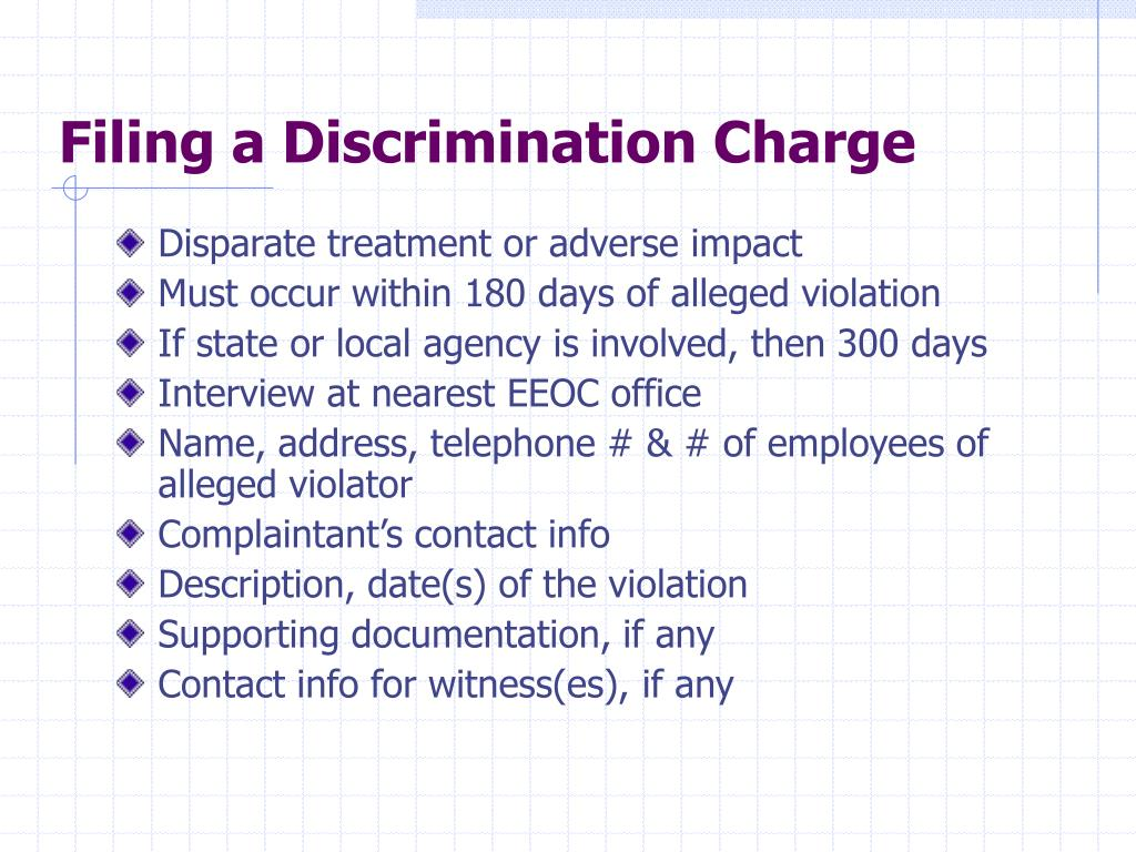 Filing a Discrimination Charge