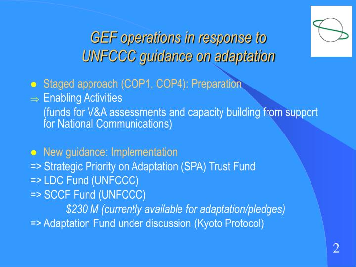 Gef operations in response to unfccc guidance on adaptation