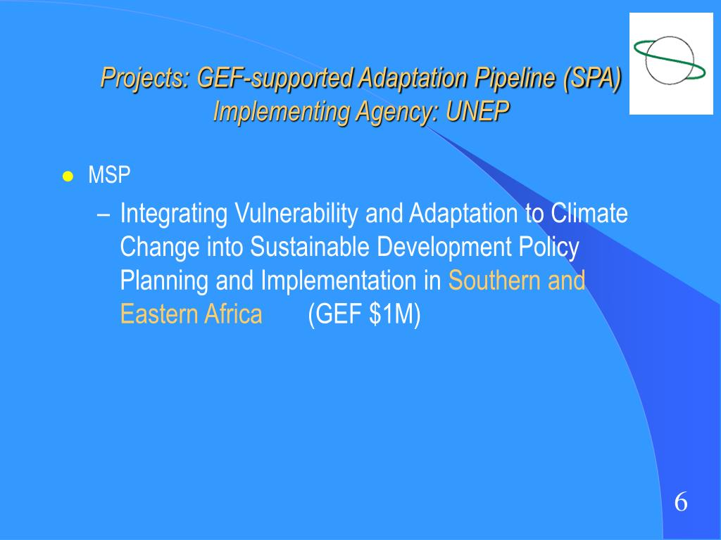 Projects: GEF-supported Adaptation Pipeline (SPA)