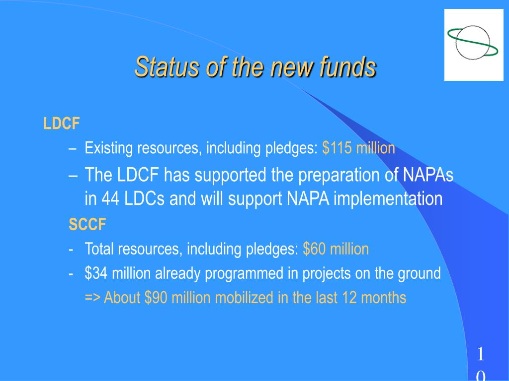 Status of the new funds
