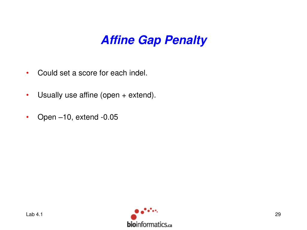 Affine Gap Penalty