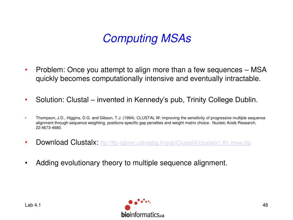 Computing MSAs