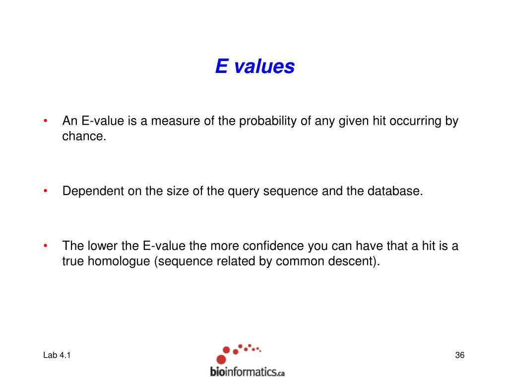 E values