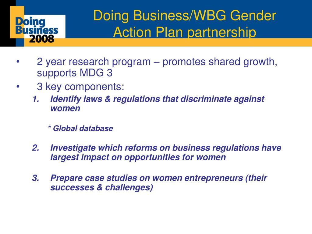 Doing Business/WBG Gender Action Plan partnership