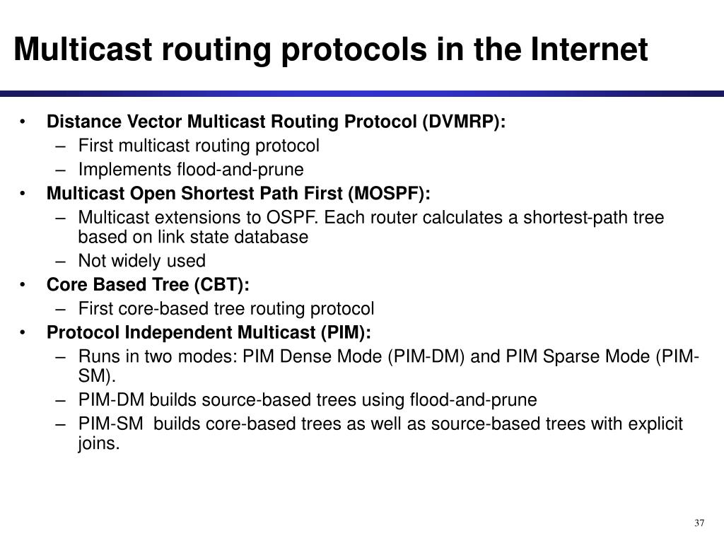 Multicast routing protocols in the Internet