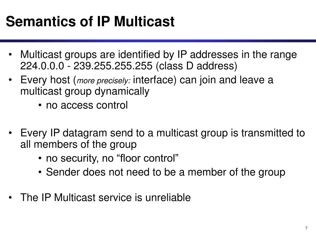 Semantics of IP Multicast