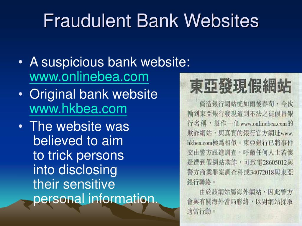 Fraudulent Bank Websites