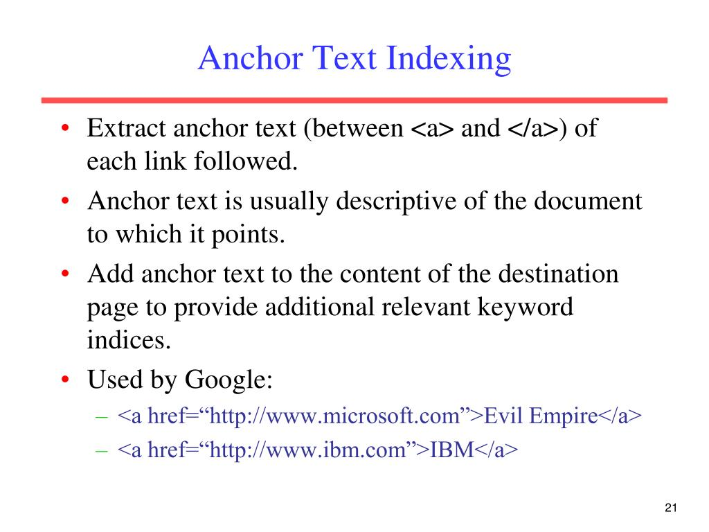 Anchor Text Indexing
