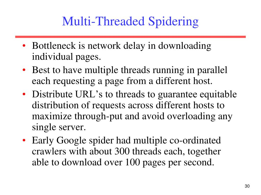 Multi-Threaded Spidering