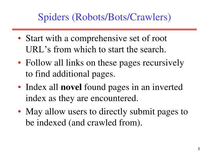Spiders robots bots crawlers