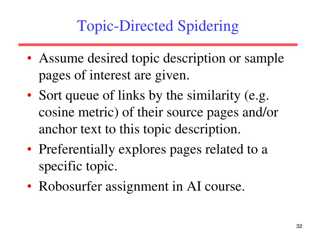 Topic-Directed Spidering