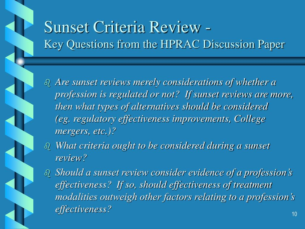 Sunset Criteria Review -