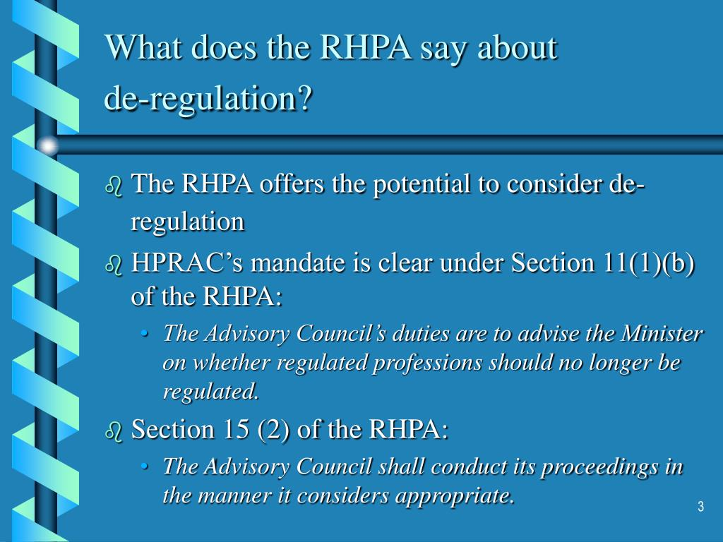 What does the RHPA say about