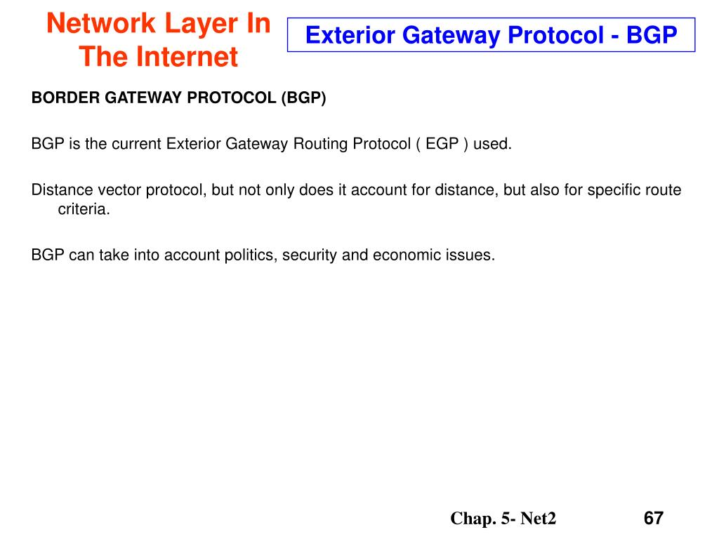 Exterior Gateway Protocol - BGP