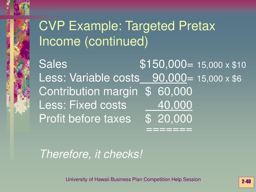 CVP Example: Targeted Pretax Income (continued)