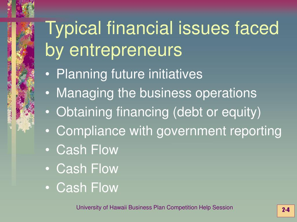 Typical financial issues faced by entrepreneurs