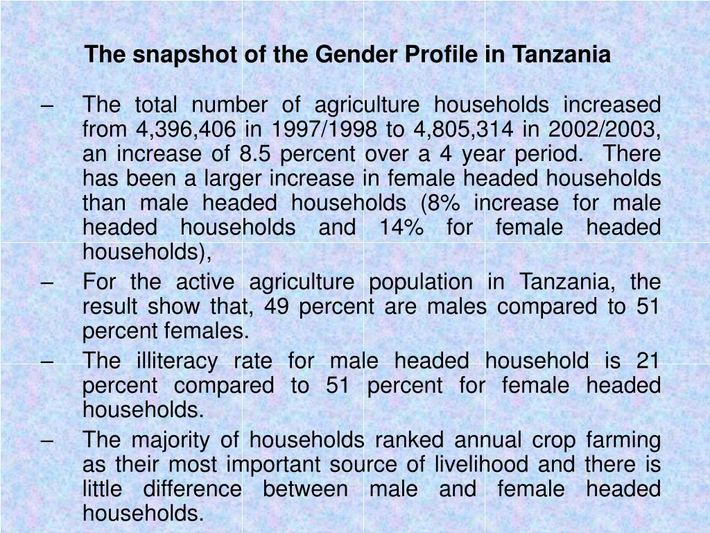 The snapshot of the Gender Profile in Tanzania