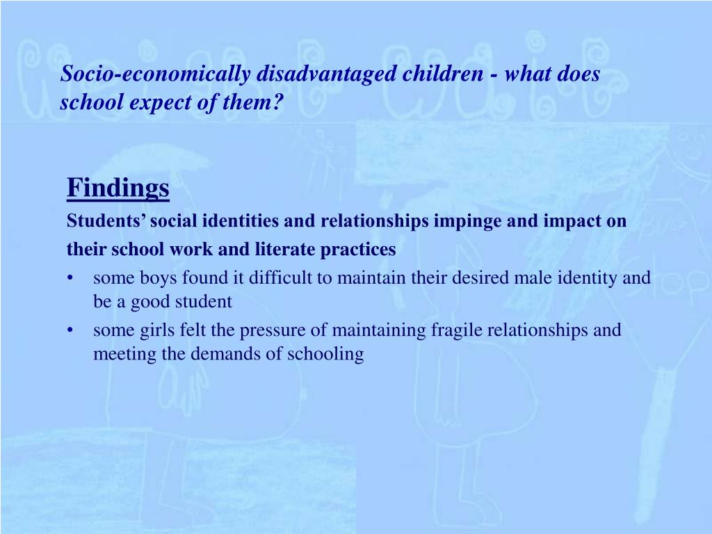 Socio-economically disadvantaged children - what does