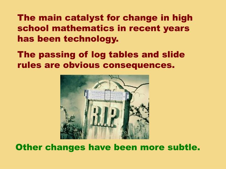 The main catalyst for change in high school mathematics in recent years has been technology.