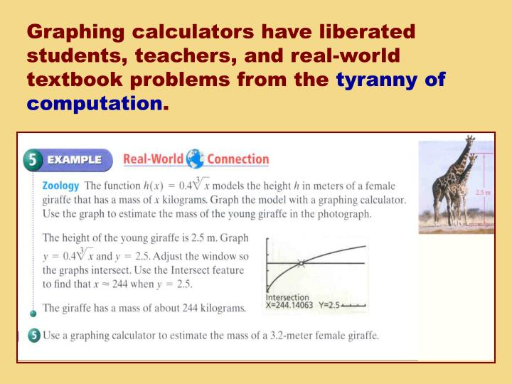 Graphing calculators have liberated students, teachers, and real-world textbook problems from the