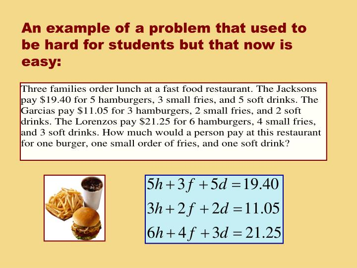 An example of a problem that used to be hard for students but that now is easy: