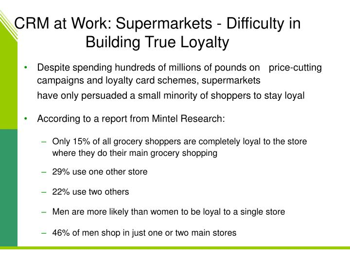 CRM at Work: Supermarkets - Difficulty in Building True Loyalty