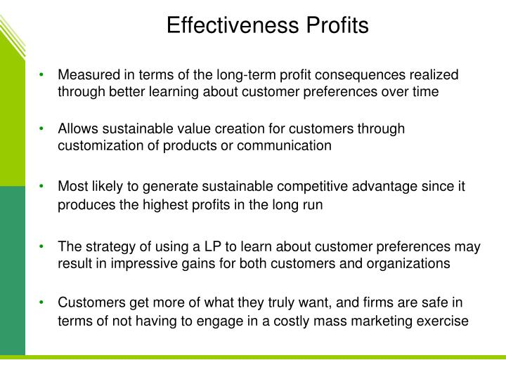 Effectiveness Profits