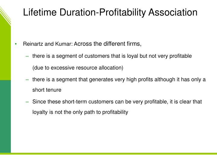 Lifetime Duration-Profitability Association