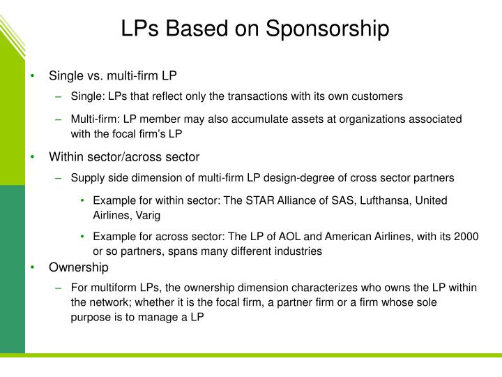 LPs Based on Sponsorship