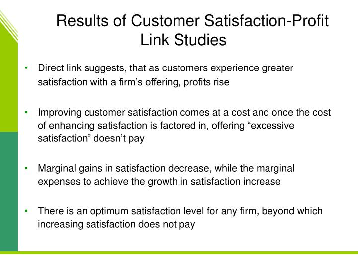 Results of Customer Satisfaction-Profit Link Studies