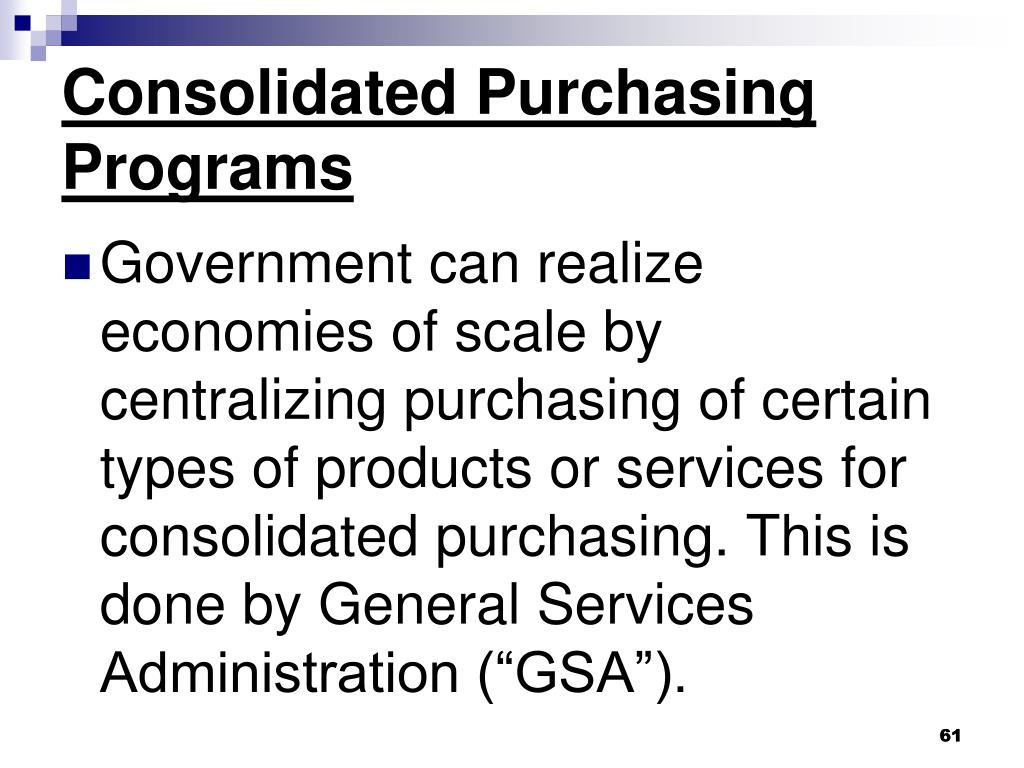 Consolidated Purchasing Programs