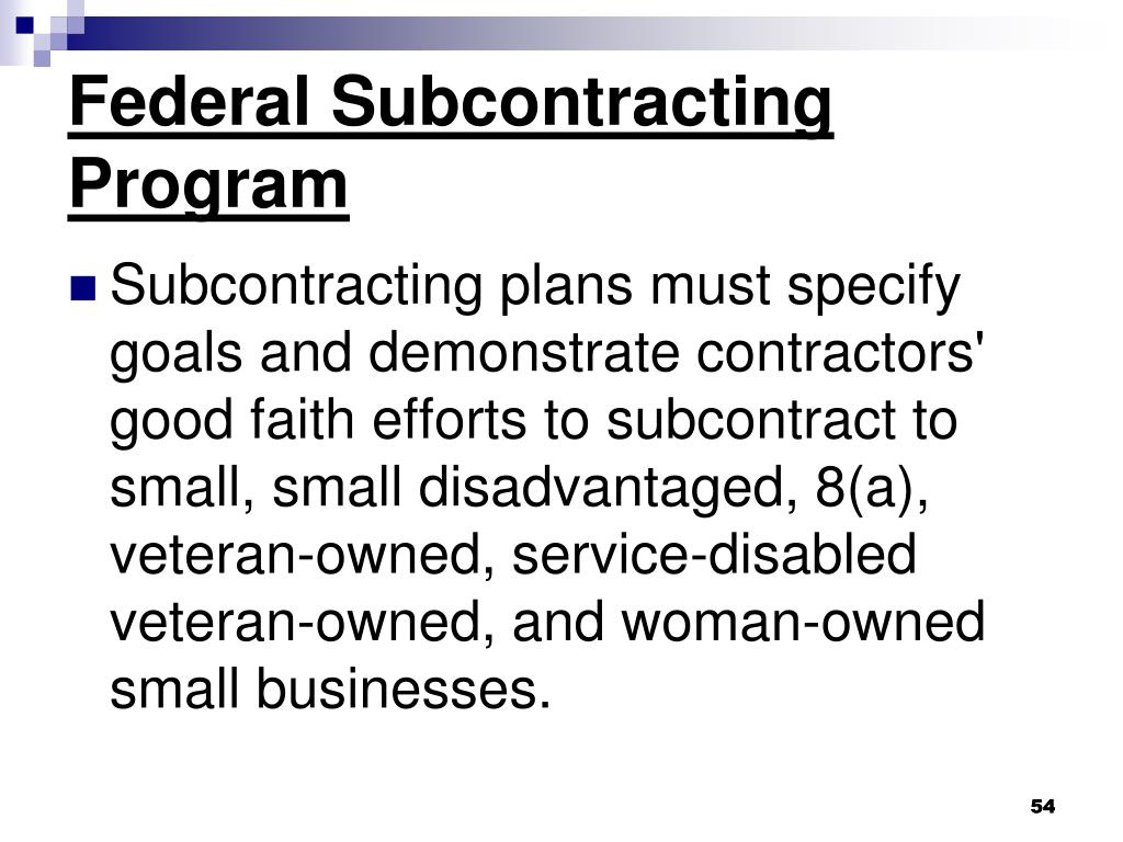 Federal Subcontracting Program