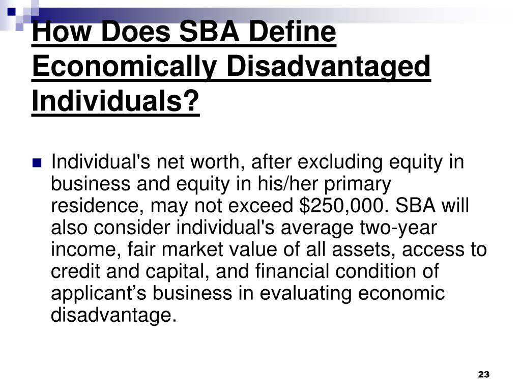 How Does SBA Define Economically Disadvantaged Individuals?