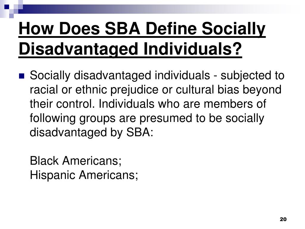 How Does SBA Define Socially Disadvantaged Individuals?