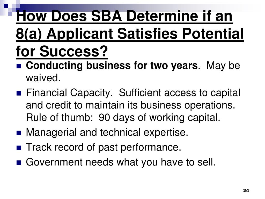 How Does SBA Determine if an 8(a) Applicant Satisfies Potential for Success?