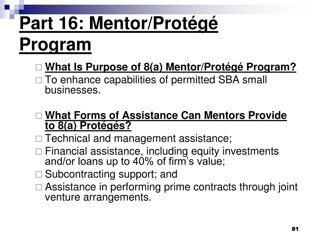 Part 16: Mentor/Protégé Program