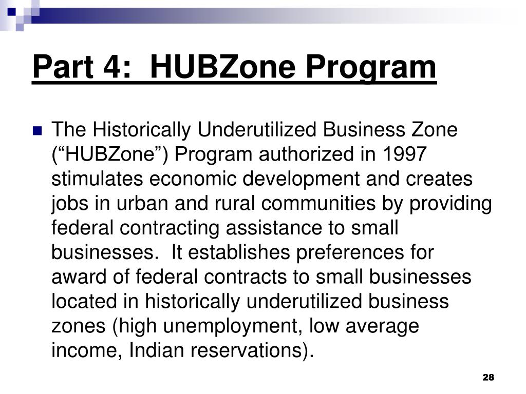 Part 4:  HUBZone Program