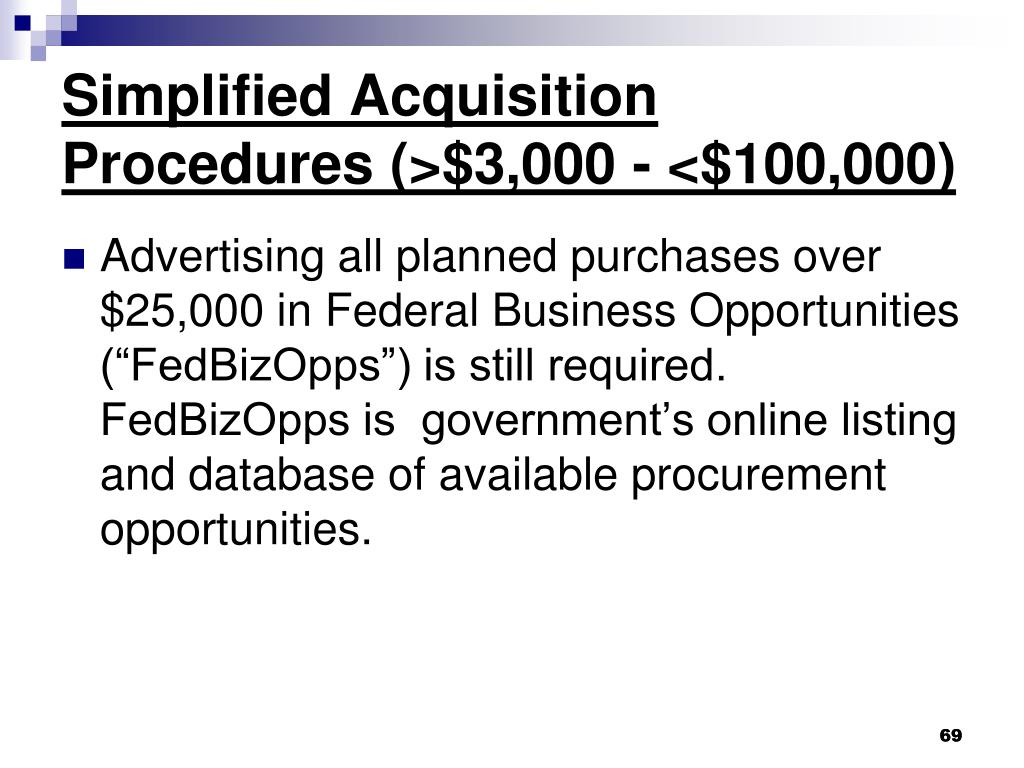 Simplified Acquisition Procedures (>$3,000 - <$100,000)