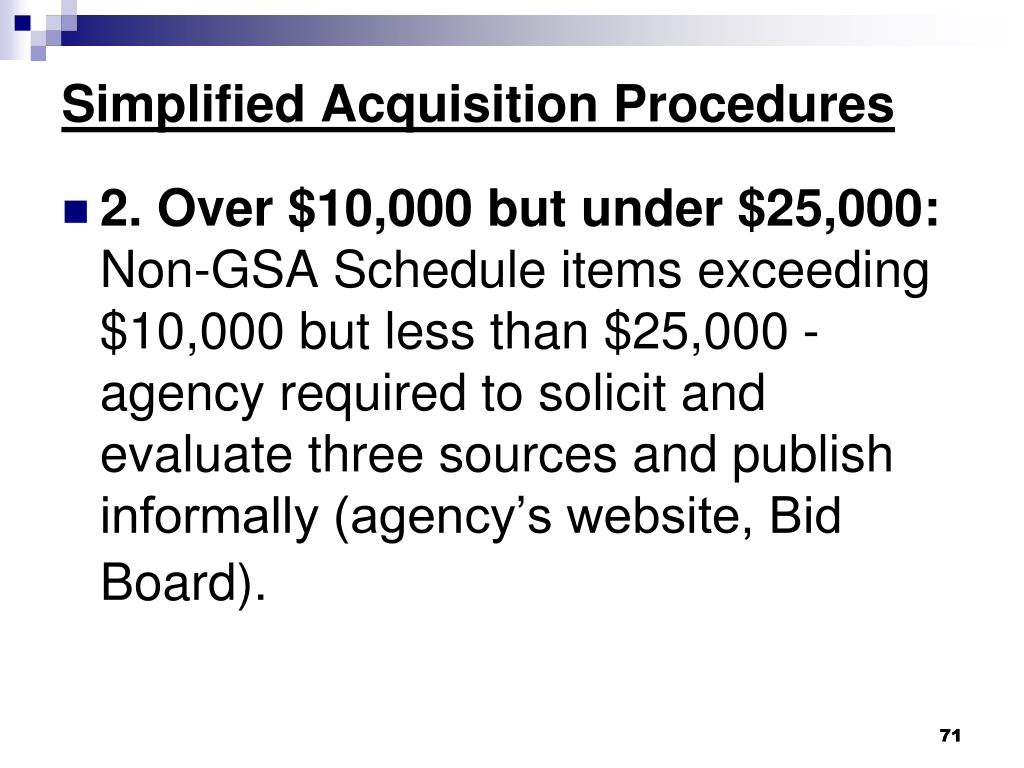 Simplified Acquisition Procedures