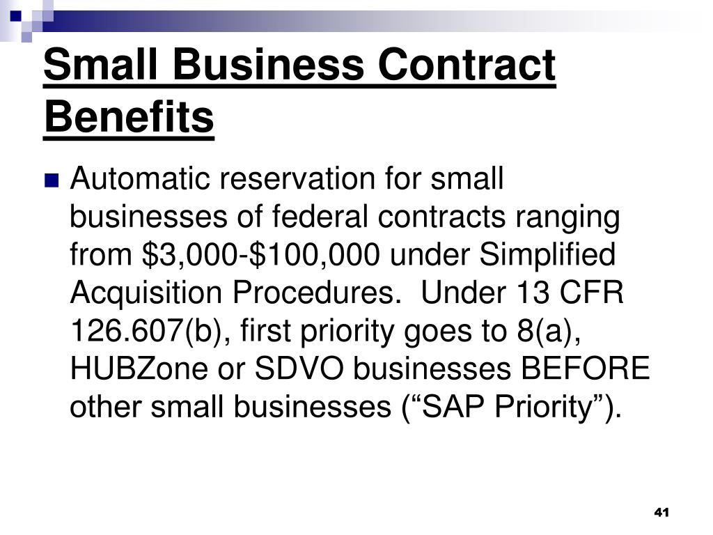 Small Business Contract Benefits