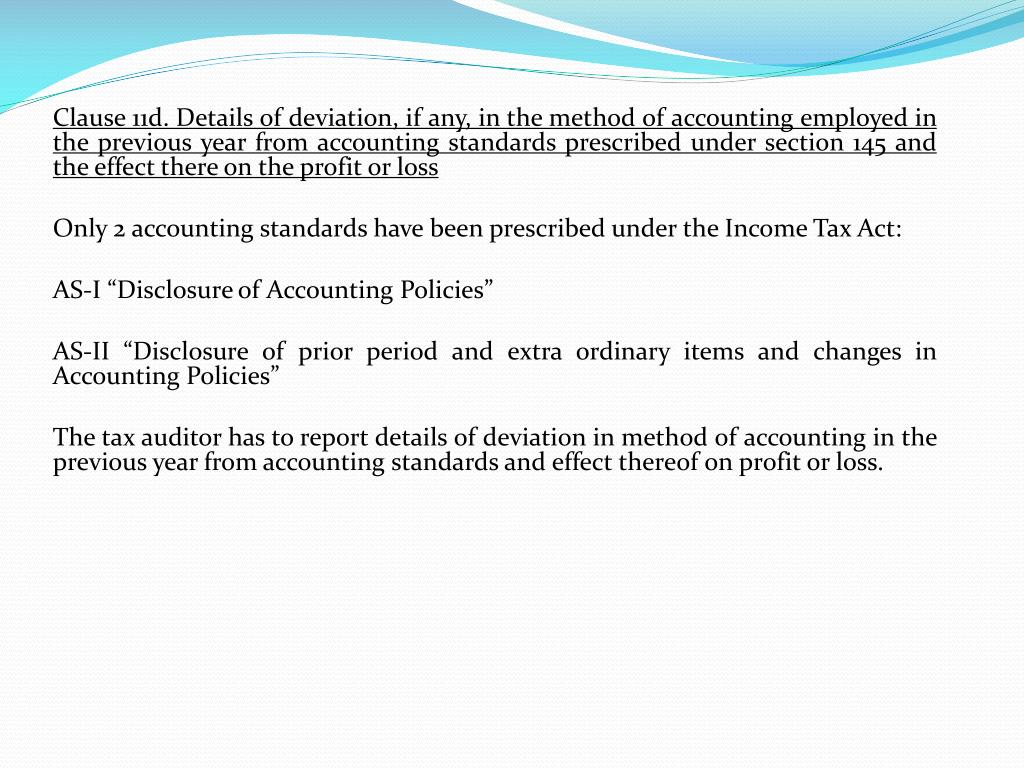 Clause 11d. Details of deviation, if any, in the method of accounting employed in the previous year from accounting standards prescribed under section 145 and the effect there on the profit or loss