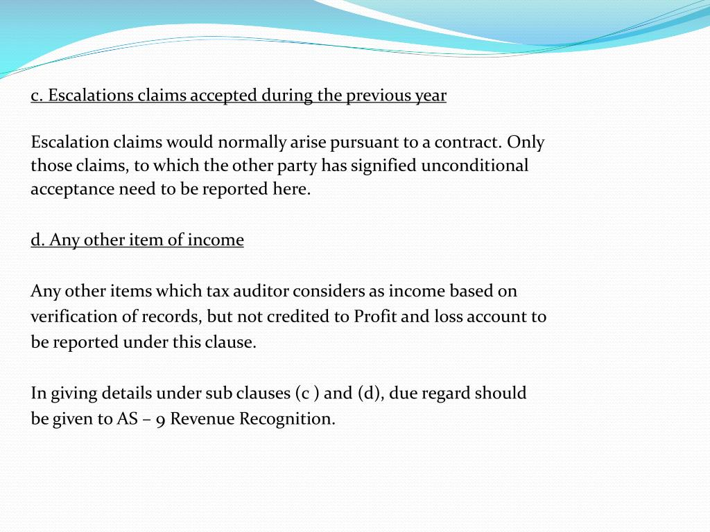 c. Escalations claims accepted during the previous year