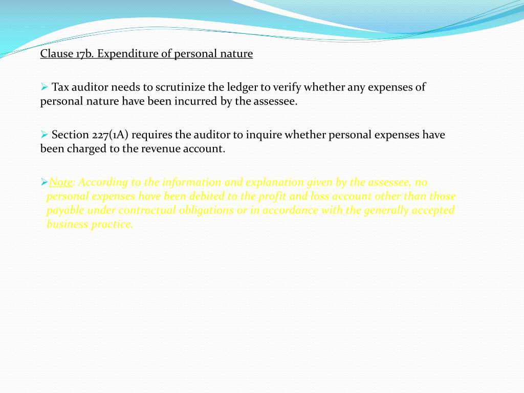 Clause 17b. Expenditure of personal nature